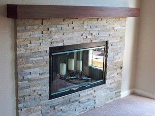 Natural Stacked Stone Fireplace Contemporary Living Room San