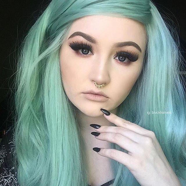 From @mermaidians - Mystical Mint! Mermaid: @blvckcvndy Wig by: @donalovehair Tag your mermaid selfies with #selfiesatmerday to be featured on Saturdays!   #Mermaidians