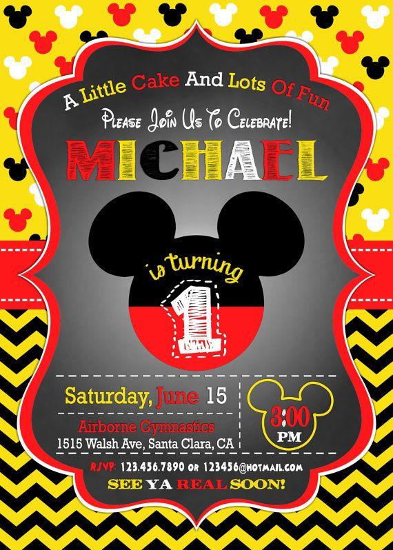Mickey Mouse Invitation, 1st Birthday Invitation, Mickey Mouse Birthday Invitation, Mickey