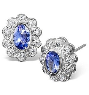 Tanzanite 6 X 4mm And Diamond 18k White Gold Earrings Item 28 Vy