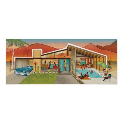 Best Mid Century Modern House Tiki Gable Roof Pool Poster 640 x 480