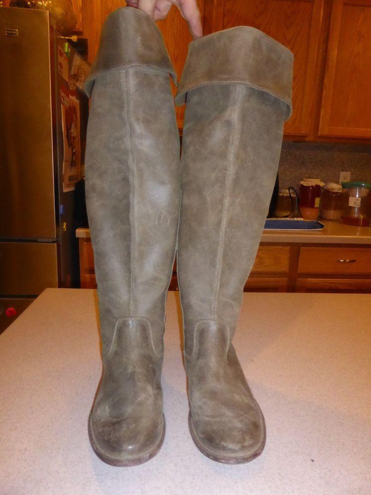 1f794f9d94b Frye Clara Beige Over The Knee Leather Suede Boots Shoes sz 10M  Frye   OverKneeBoots