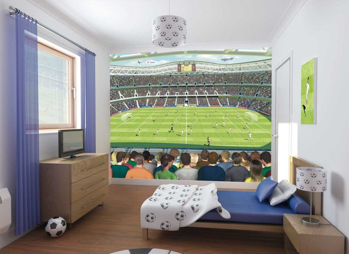 bedroom interior teens bedroom kids bedroom football stadium poster and tv on wooden cabinet in soccer themed bedroom fascinating decorating ideas for boys - Kids Bedroom Decoration Ideas