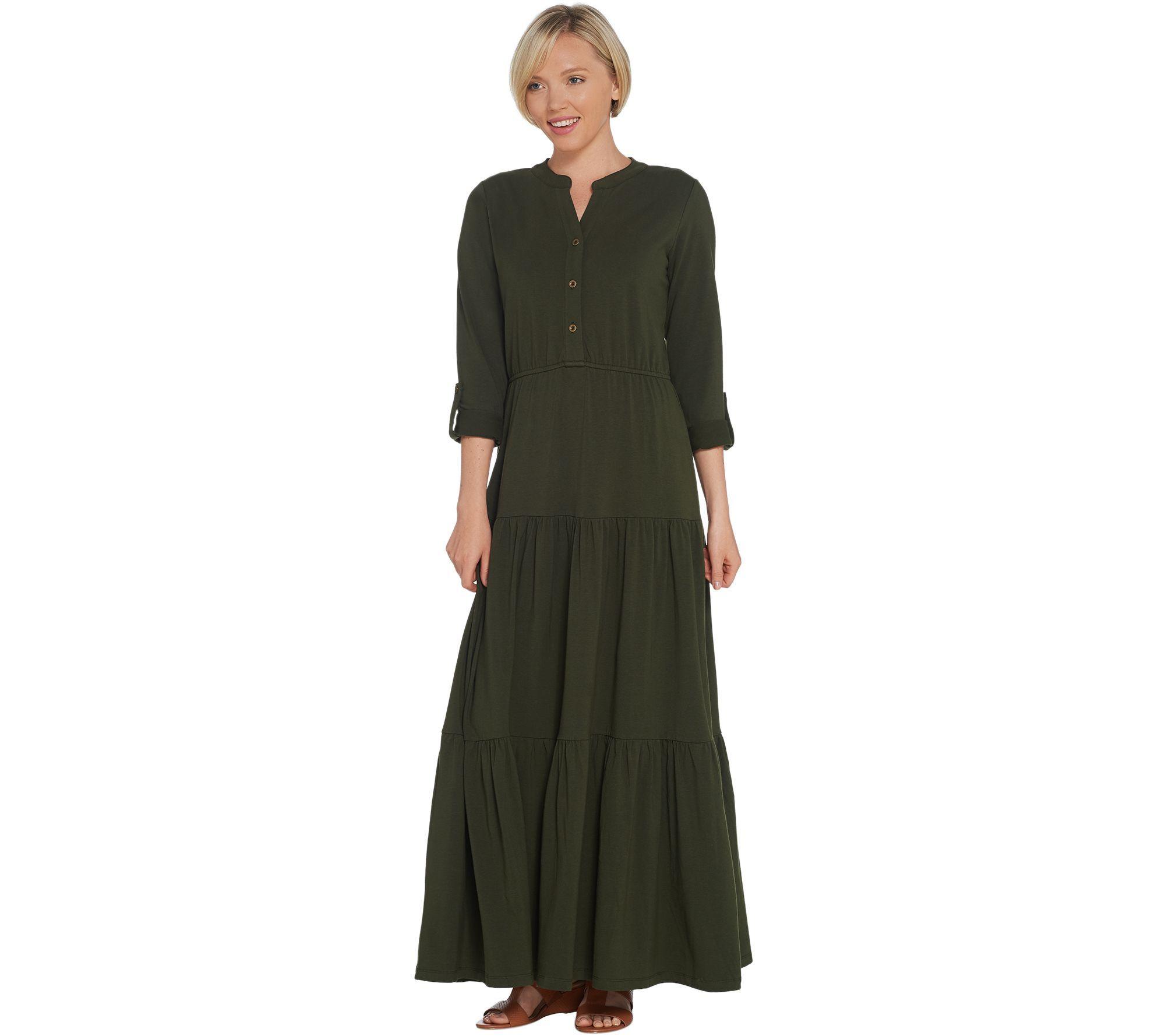 Denim Co Button Y Neck Tiered Maxi Dress W Roll Tab Sleeve Qvc Com Tiered Maxi Dress Maxi Dress Comfy Maxi Dress [ 1778 x 2000 Pixel ]