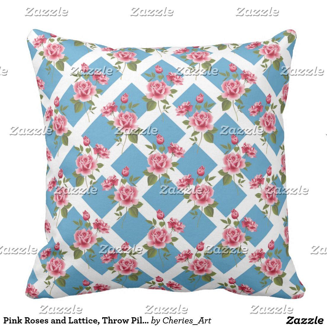 "Pink Roses and Lattice, Throw Pillow 20"" x 20"""