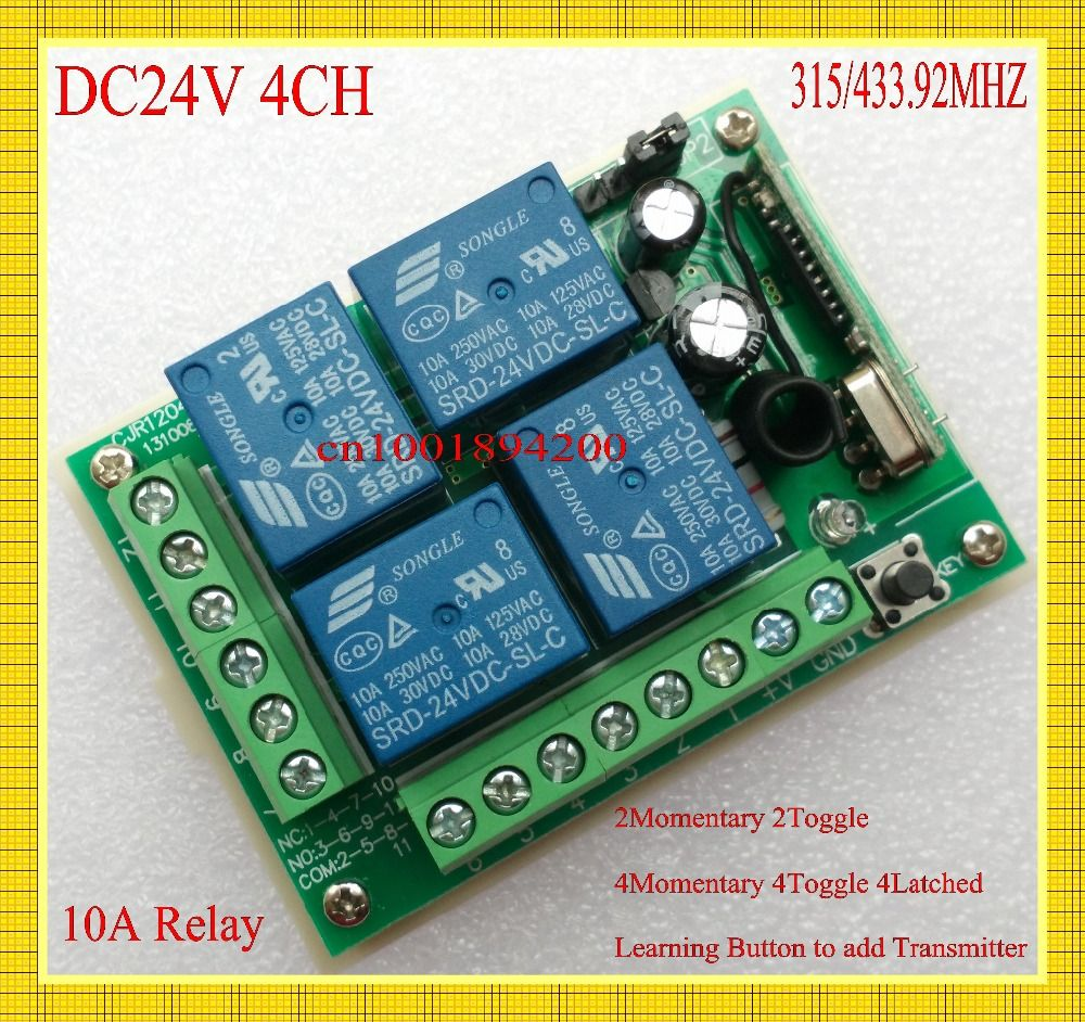 Dc 24v 4 Channel Way Wireless Remote Control Switch Relay Output 10a 2 Momentary No Com Nc Learning Code 315 433mhz Toggle Latched Affiliate