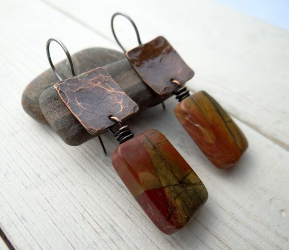 Jasper and Hammered Copper Earrings red by LostSparrowJewelry