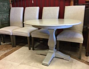 Ethan Allen Custom Clics Dining Table Good Looking Traditional Round Pedestal Updated With A Pale Gray Wash Finish Perfect For Your Breakfast