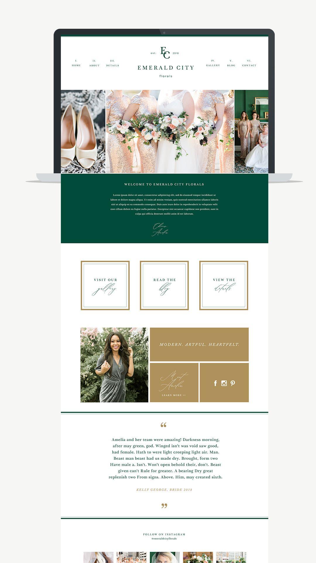 Showit Website Template For Photographers Florists Wedding Planner Website Wedding Planner Logo Planner Logo Design