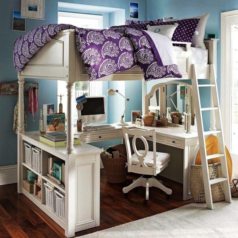 Loft Bedroomdesign: Furniture. White Wooden Loft Beds With U Shaped Desks