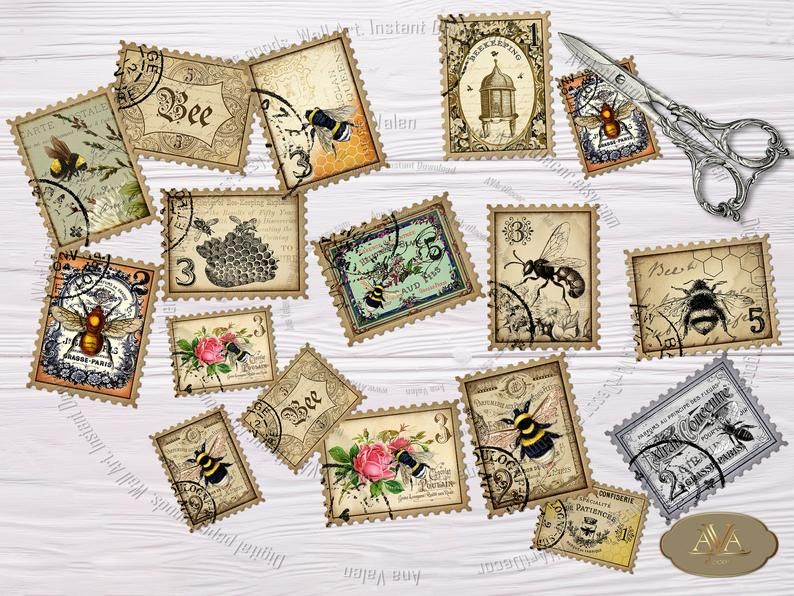 Instant Download 1646 Digital Printable Bees Medallions Faux Postage Collage Sheet