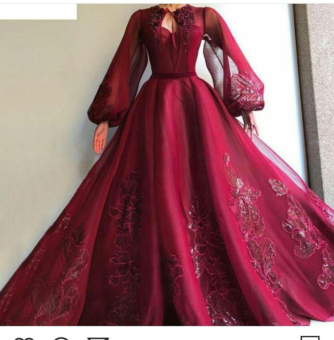 متجر توفا تفصيل اجمل فساتين الزفاف والسهرة المميزة والمختلفة والسعر مناسب جدا للطلب دايراكت او واتسا Burgundy Gown Gowns Gowns Dresses