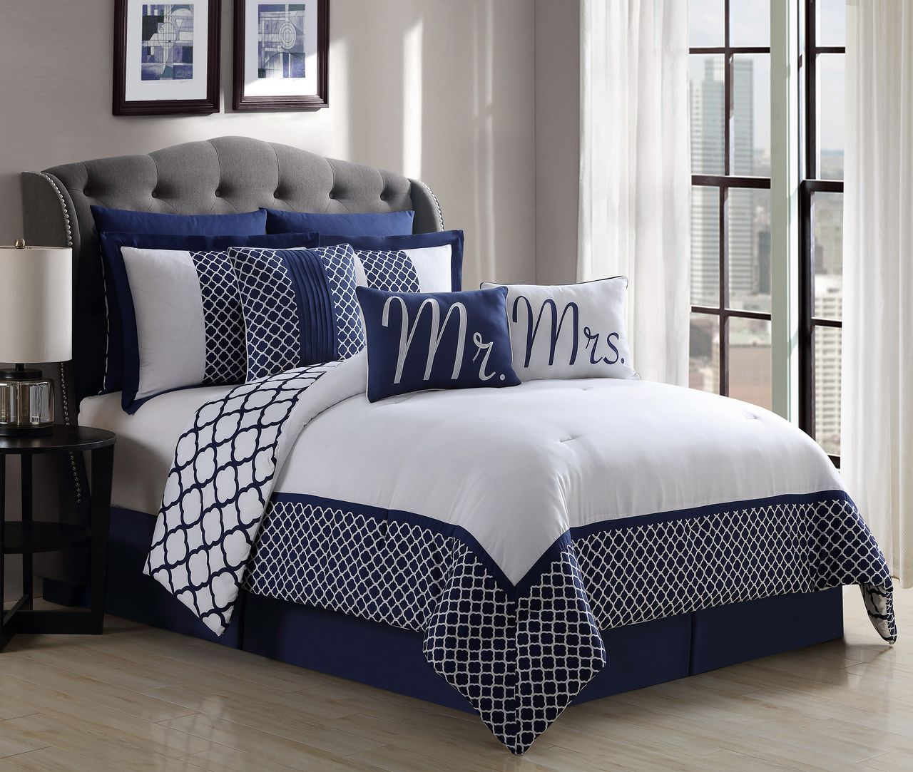 9 Piece Mr. and Mrs. Navy/White Reversible Comforter Set ...