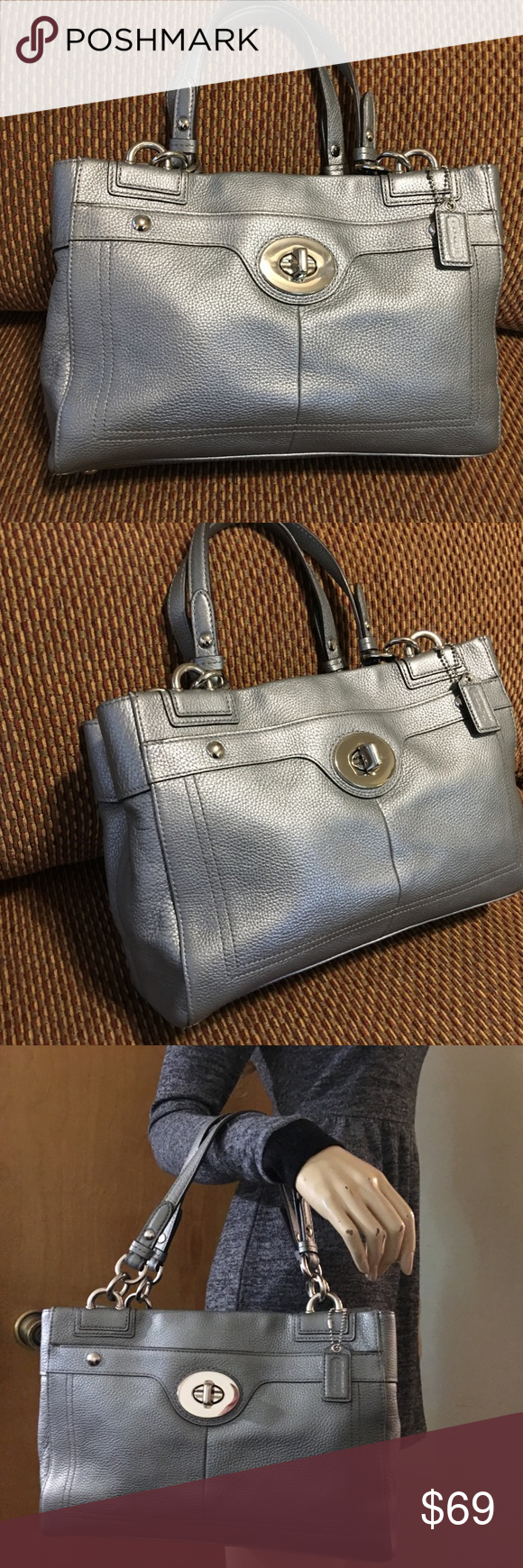 3bd80735b0 COACH Penelope Platinum Leather Carry All Stunning COACH Penelope satchel!  This carry-all is
