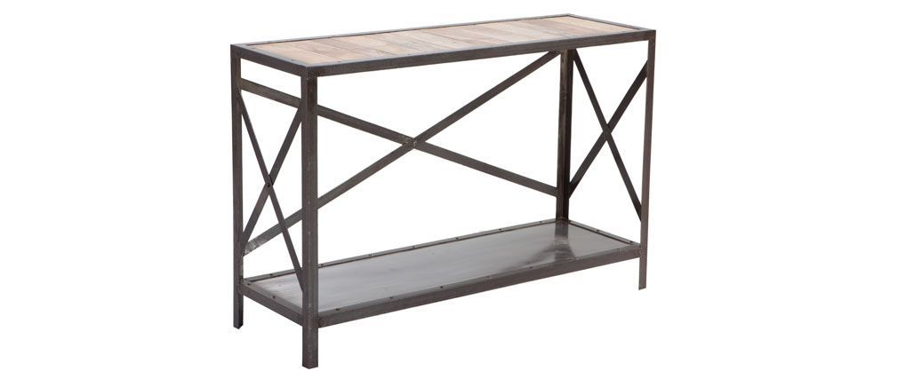 Console bois massif et métal industrielle ATELIER | Déco style ...
