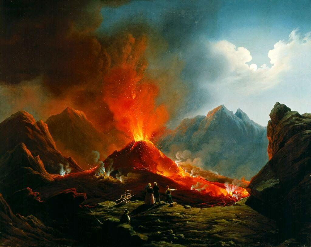 Hubert Sattler 1817 1904 Vulkanausbruch Am Vesuv 1872 Vesuv Vulkan