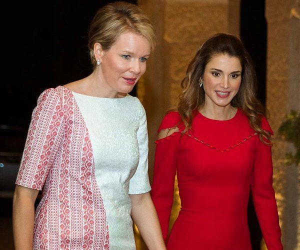 Queen Mathilde attended a reception at the Belgian Embassy in Jordan