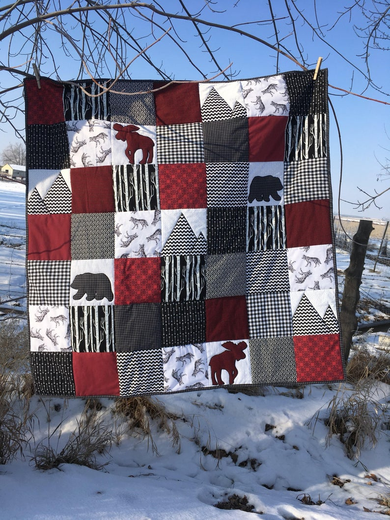 Nursery baby quilt Moose Bears appliqué hand quilted black
