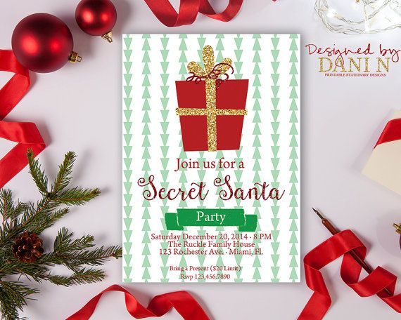 Secret Santa Party Invitation Glitter Christmas Party Invite Gift ...