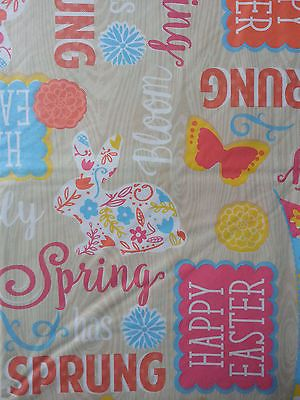 Details About 52X70 Vinyl/flannel Oblong Tablecloth Happy Easter Eggs  Multi Color By NANTUCKET