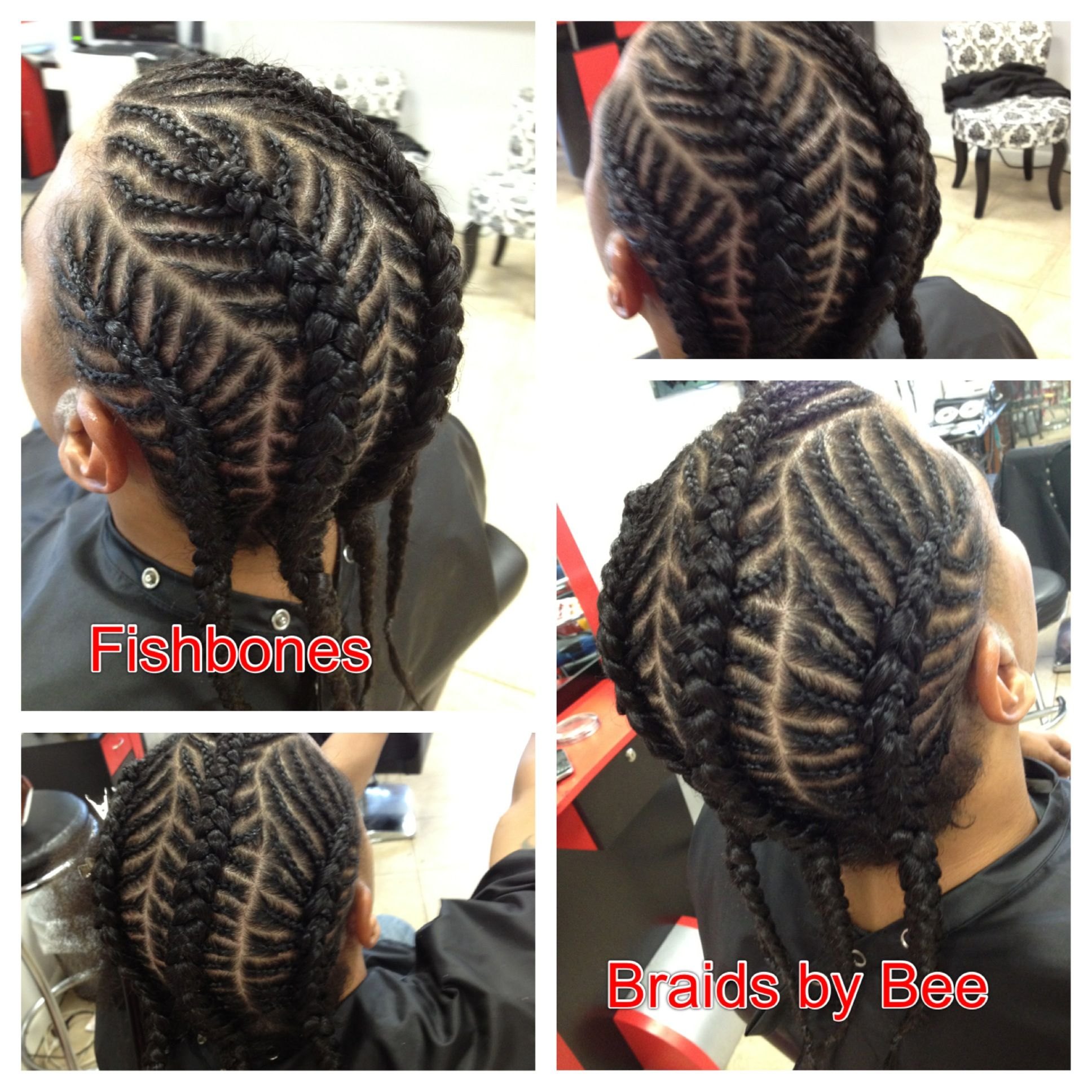 4 Fishbone Corn Row Braids With Natural Hair First Washed, Blown Out,  Grease