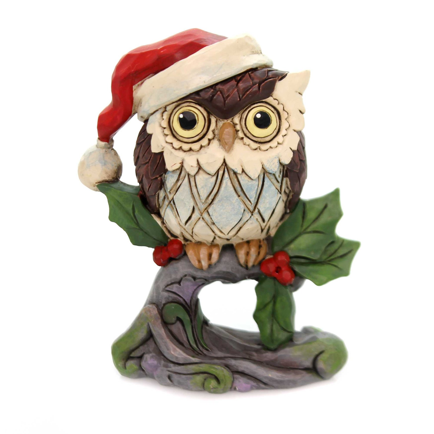 Jim Shore CHRISTMAS ON OWL ON BRANCH MINI Polyresin