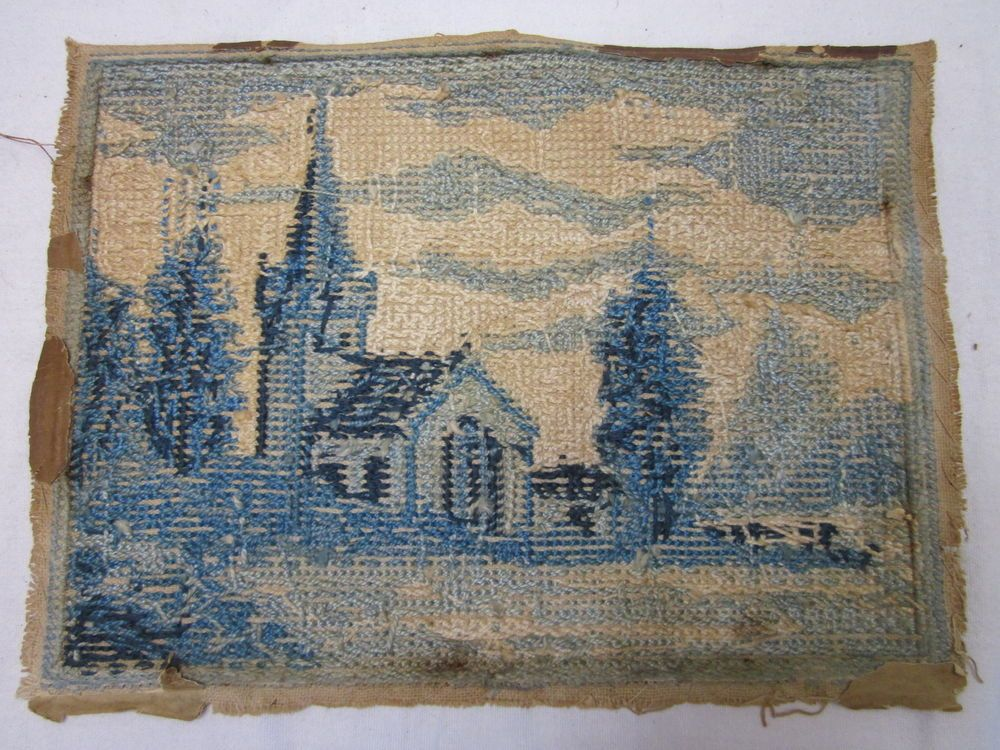 Antique Vintage Needlepoint Hand Made Cross Stitch Petite Point Finished Piece
