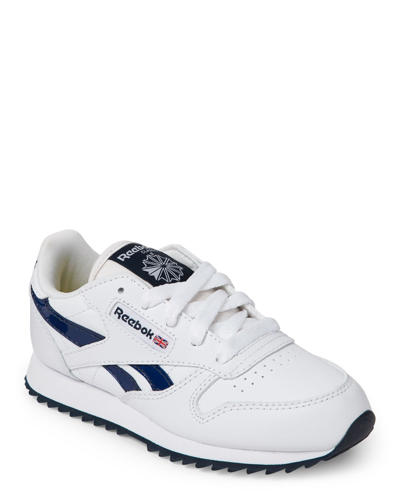 4b97111ff23 Reebok (Toddler Boys) White   Navy Classic Leather Ripple III Sneakers