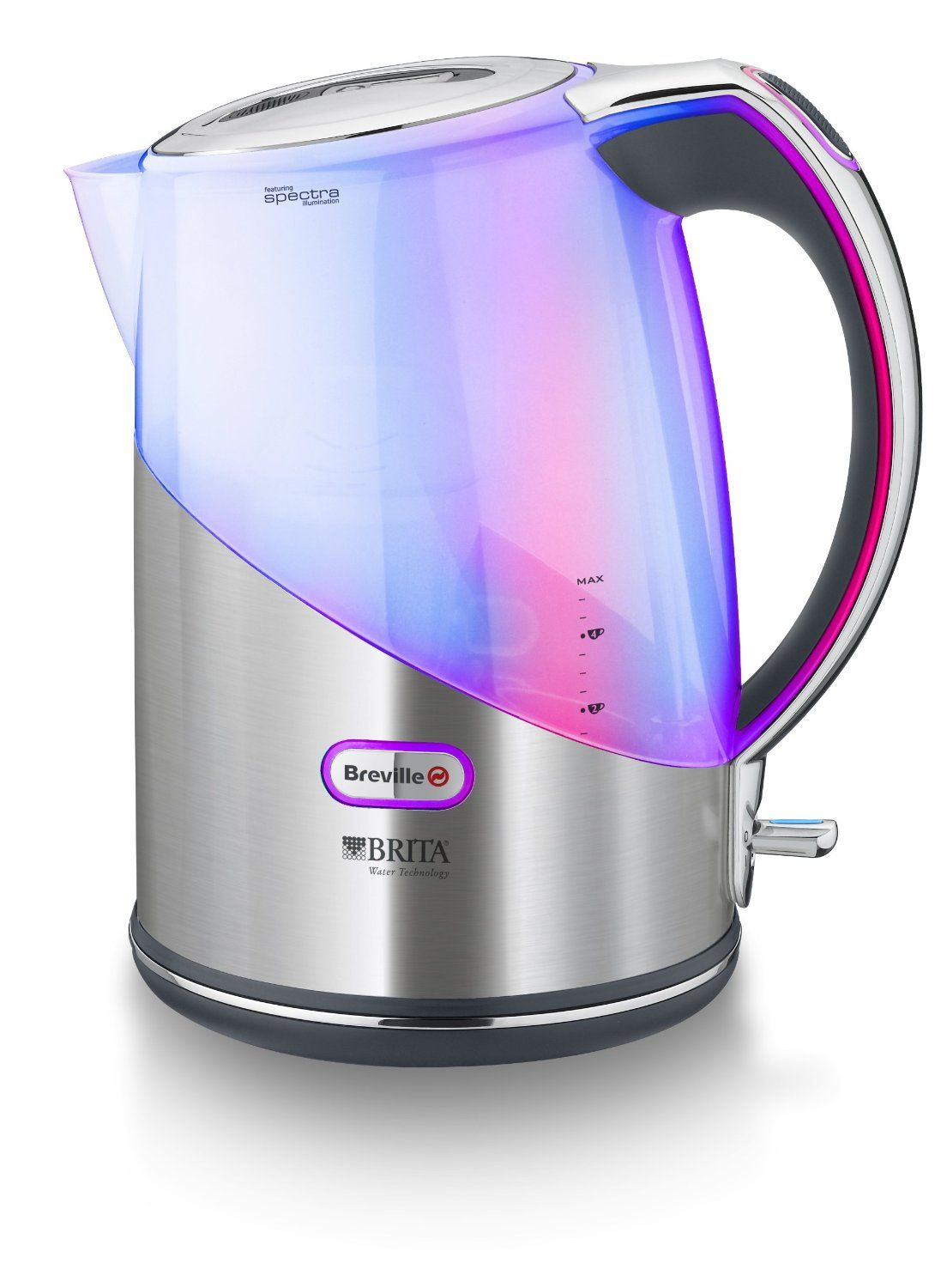 Coloured Small Kitchen Appliances Breville Brushed Stainless Steel Brita Filter Kettle With Spectra