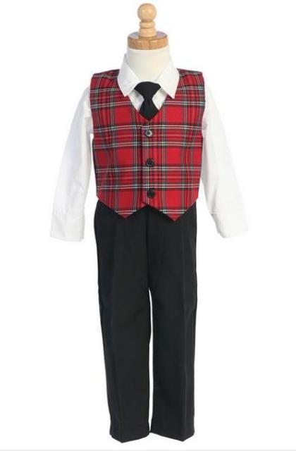 Infant   Toddler Boys Red Plaid Vest   Pants Holiday 4 pc Set  2020ce3c7