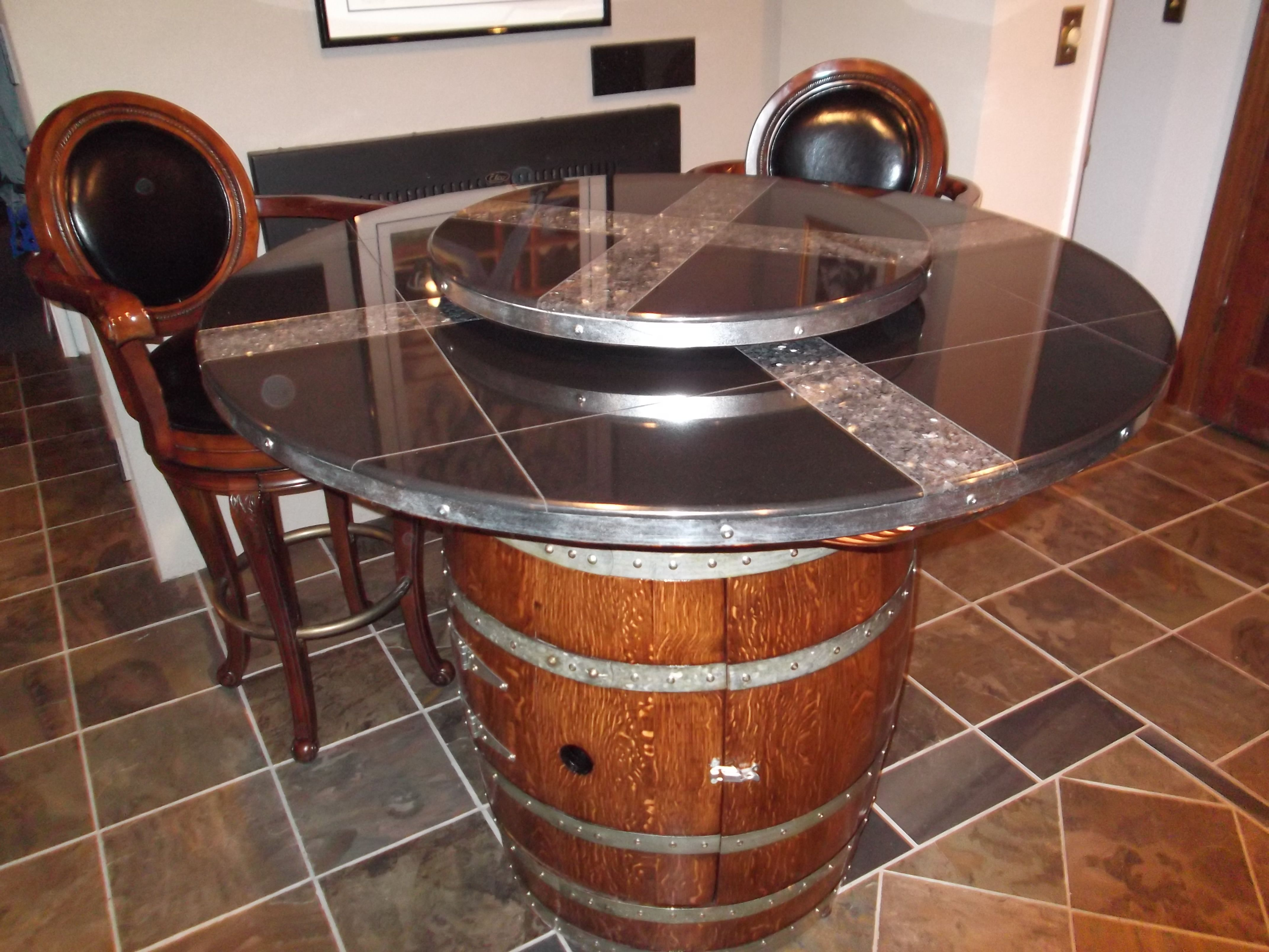 Oak Wine Barrel Black Granite Table With Lazy Susan