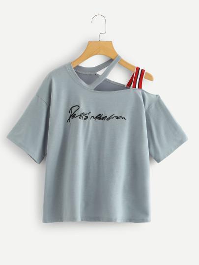 c0cd1d4311a Asymmetrical Neck Plus Size Slogan Tee Top 24.99  dress  losangeles   plussizefashion  nyc  dresses  instafashion  plussizedress   aleyacollections  plussize ...