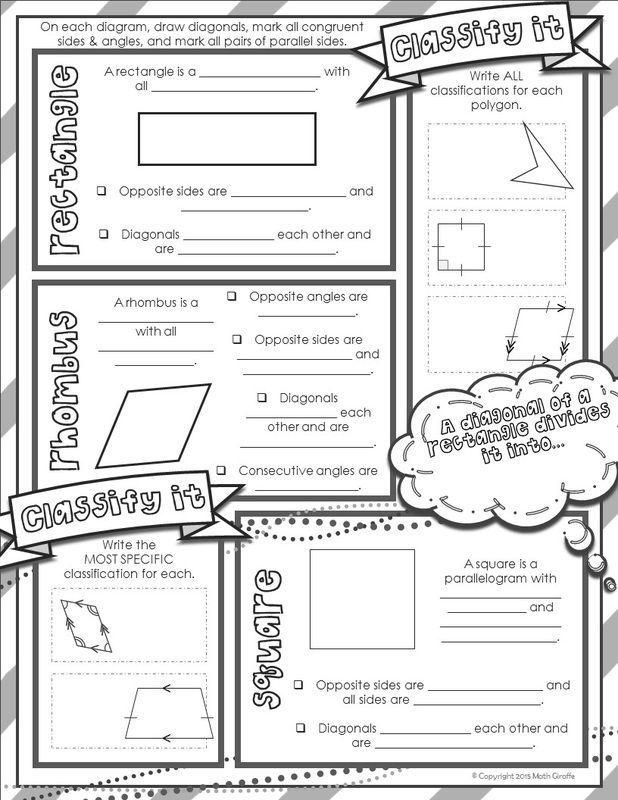 free download doodle notes for quadrilaterals inb pinterest