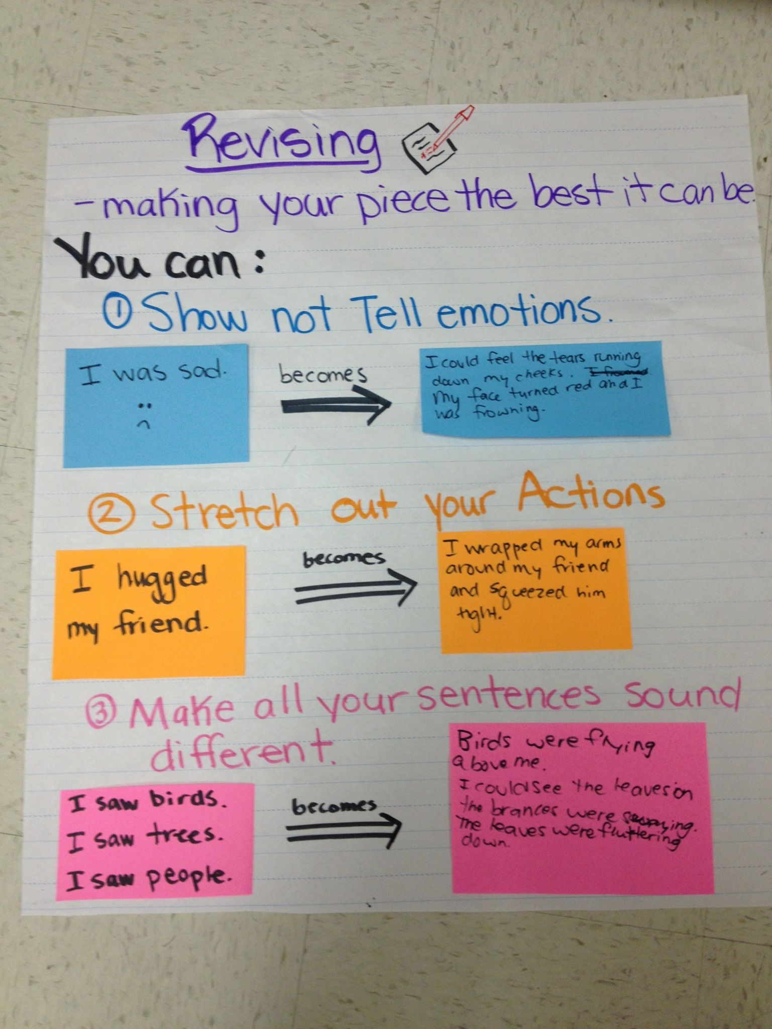 Ways to Revise your Personal Narrative Chart Writer s