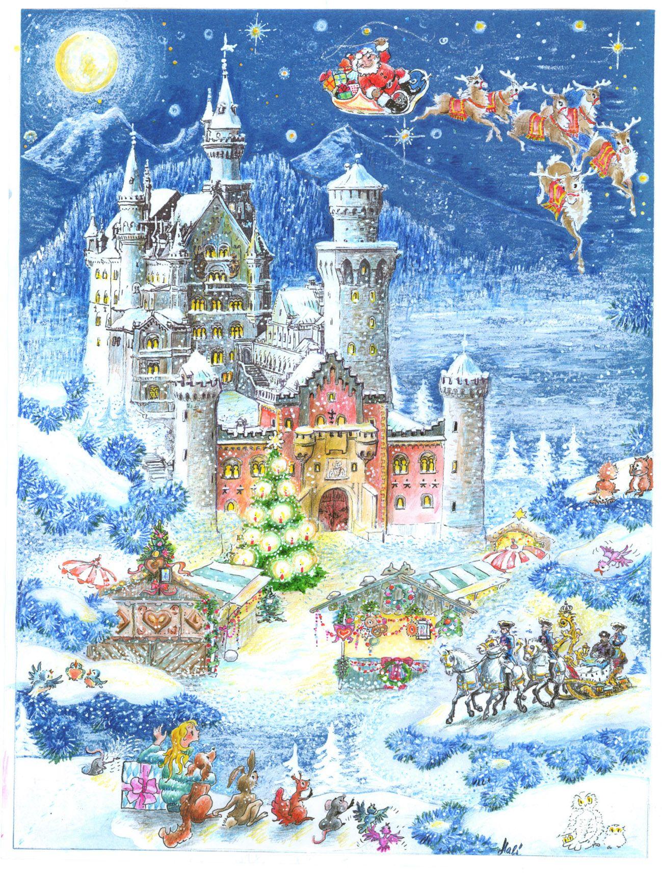 Adventskalender Schloss Neuschwanstein Adventkalender Weihnachtsdruck Weihnachts Grafiken