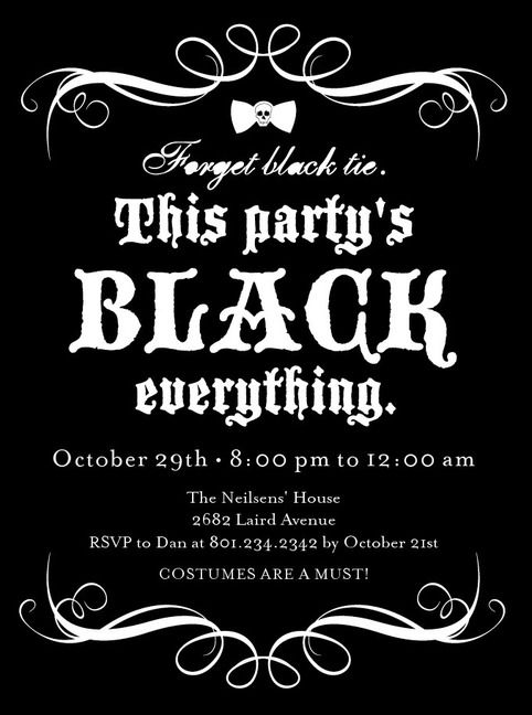 halloween party invitations black everything front black - Black And White Halloween Party
