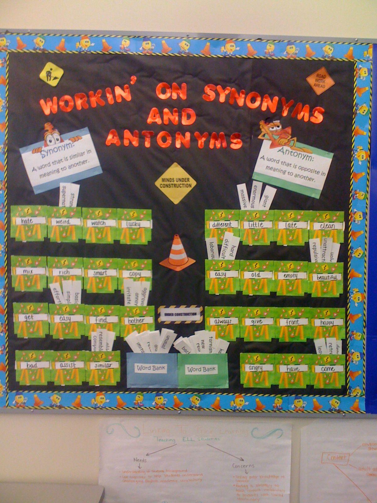 Antonymsynonym Bulletin Board Idea