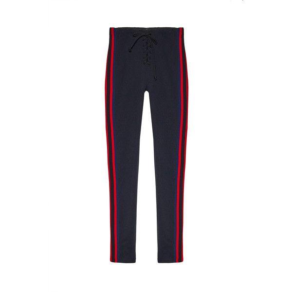 95b597d2a0630 YEEZY Stripe Football Legging ($403) ❤ liked on Polyvore featuring pants,  leggings, white leggings, front lace up pants, lace up leggings, lace up  front ...