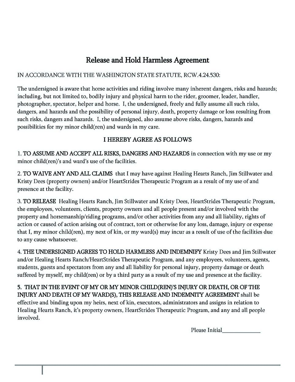 Hold Harmless Agreement Template Free Making Hold Harmless