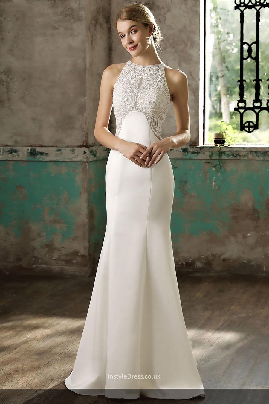 Slim fit wedding dresses  Sleeveless Lace Bodice Satin Slim Fit Floor Length Bridal Gown