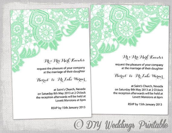 diy wedding invitation template editable mint green antique lace