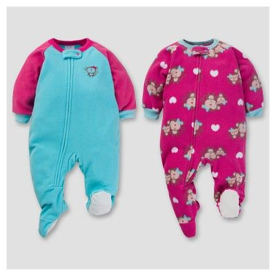 Gerber Baby Girl 2pk Happy Monkey Microfleece Zip-Front Footed Blanket  Sleepers - Turquoise 24 M e4d8c2a06