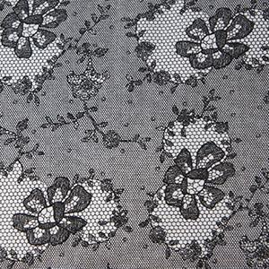 Black & White Faux Lace Cotton Lycra Jersey Knit Fabric