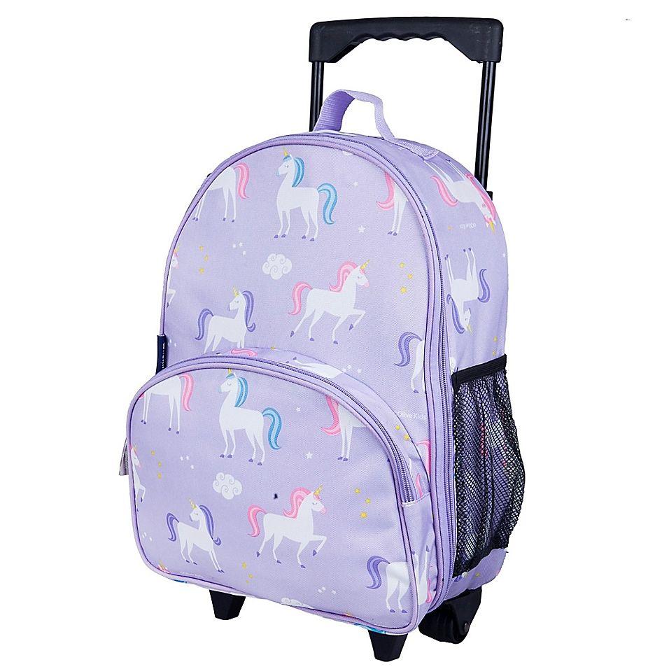 Wildkin Unicorn Rolling Luggage In Purple Kids Rolling Backpack