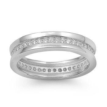 Bathilde's Raised Edges Channel Set Cubic Zirconia Eternity Band Ring