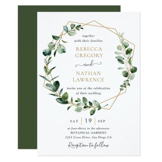 Eucalyptus Greenery Gold Geometric Frame Wedding Invitation | Zazzle.com