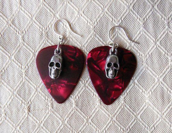 Red skull earrings - https://www.etsy.com/listing/208772957/red-skull-guitar-pick-earrings