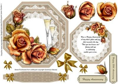 Beautiful Anniversary easel or topper in gold  on Craftsuprint - Add To Basket!