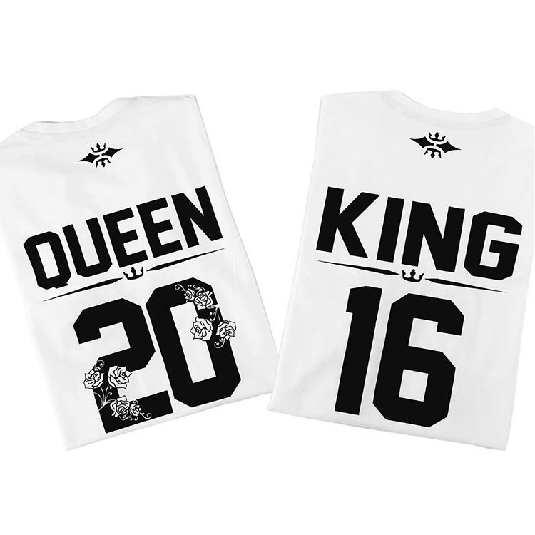 dd07db1990 KING QUEEN couple shirts, king queen couple t shirts custom numbers on the  back