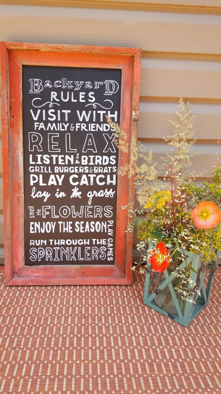 Backyard Rules chalkboard sign. Farm House Chic. DIY. Yellow House Landscape. Bre Cotter
